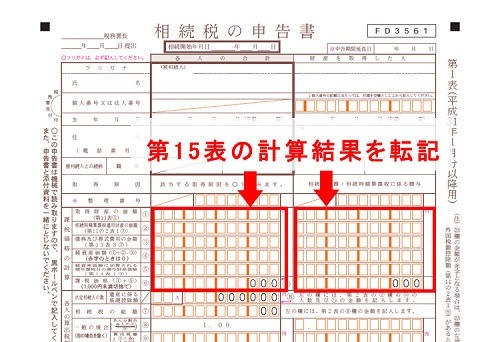 第15表の計算結果を転記(相続税の申告書)