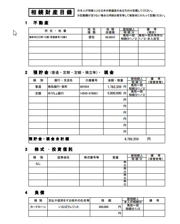 相続財産目録の記載例
